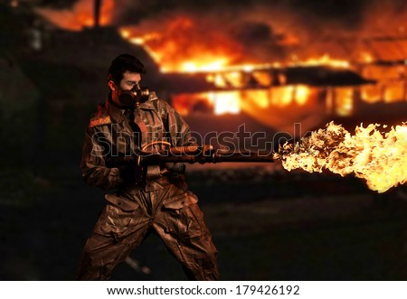 Soldier with flamethrower. Fire city background - stock photo
