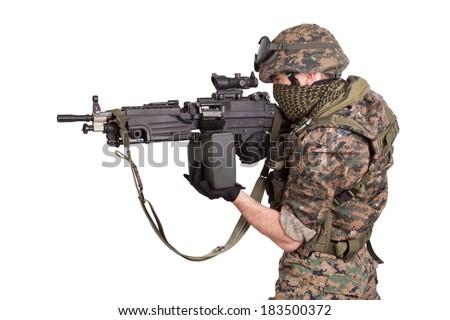 soldier with M249 machine gun - stock photo