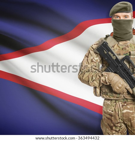 Soldier with machine gun and national flag on background series - American Samoa