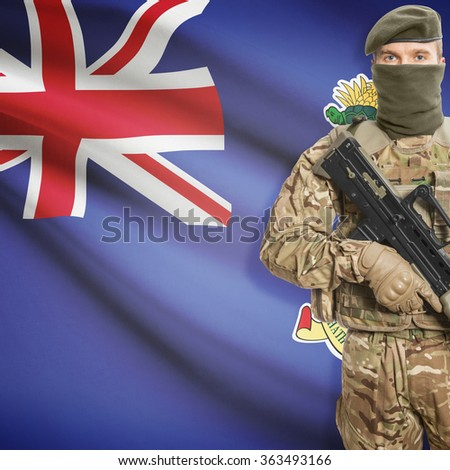 Soldier with machine gun and national flag on background series - Cayman Islands
