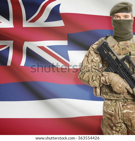 Soldier with machine gun and USA state flag on background series - Hawaii