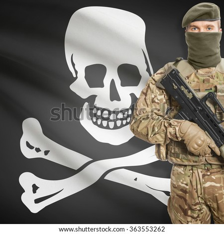 Soldier with machine gun and USA state flag on background series - Jolly Roger - Symbol of Piracy - stock photo