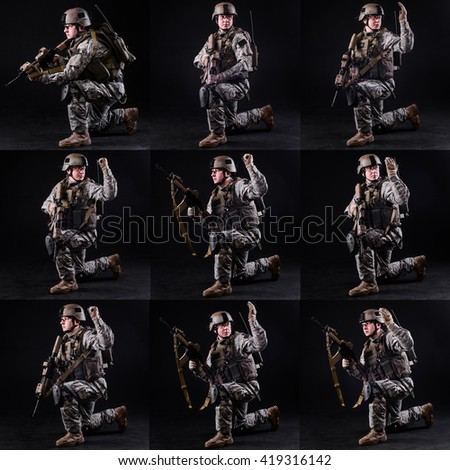 Soldier with rifle demonstrates special tactical signal on dark background.Collage/Soldier shows special signals - stock photo