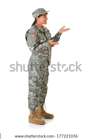 Soldier: Woman Gesturing To Side - stock photo