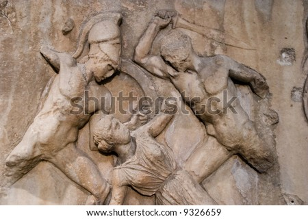soldiers about to slaughter helpless women (carving from the acropolis in london museum)