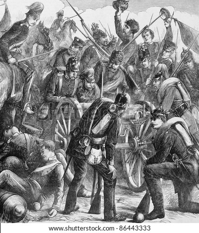 Soldiers Examining the First Captured Mitrailleuse in  Franco-Prussian War. Engraved by M.W.Ridley and publsihed in the Graphic newspaper, United Kingdom, 1870. - stock photo