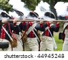 Soldiers from Napoleonic Wars firing a valley - stock photo