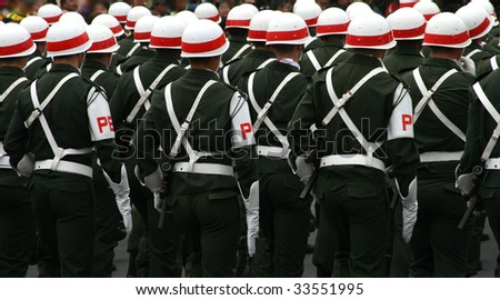 Soldiers in a military parade - stock photo