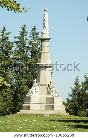Soldiers National Monument at the center of Gettysburg National Cemetery, Randolph Rogers, sculptor - stock photo