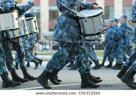 Soldiers parade boots feet - stock photo