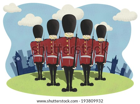 Soldiers with London City background - stock photo