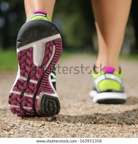 Sole of running shoes while jogging, sport, training or workout