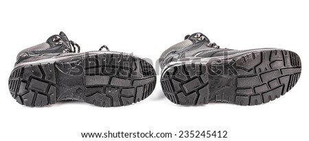 Sole side of rubber boots. Isolated on a white background.  - stock photo