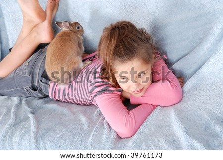 solicitous guardian of the rabbit - stock photo
