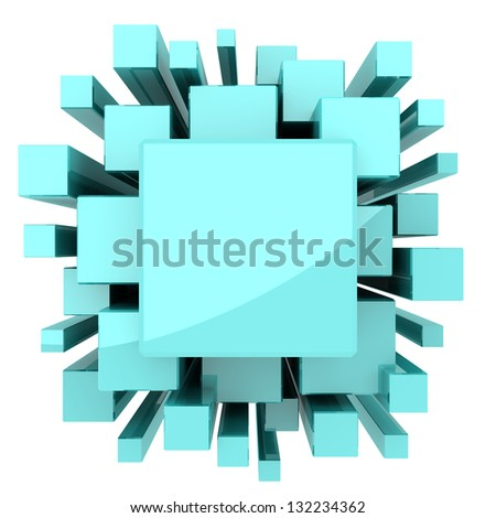 Solid light blue or green cubes for science or technology background. - stock photo