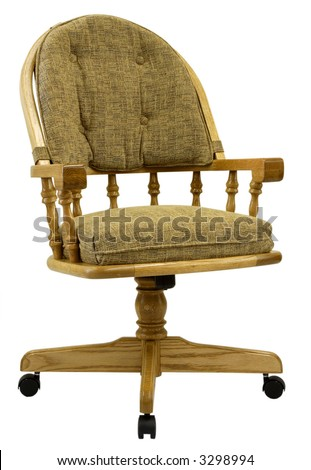 Solid Oak Captain's Swivel Caster Dining Chair - stock photo