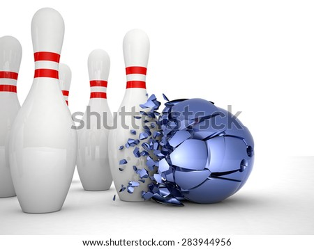 solid skittle and weak ball - stock photo