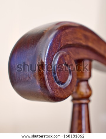 solid walnut vintage armchair detail - stock photo