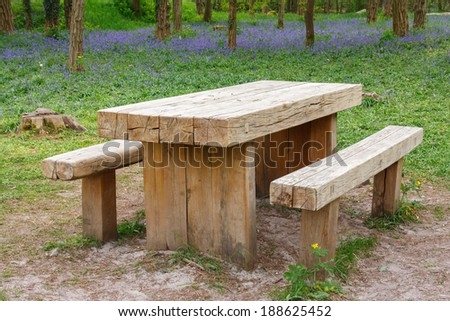 Solid wooden picnic table in the forest - stock photo