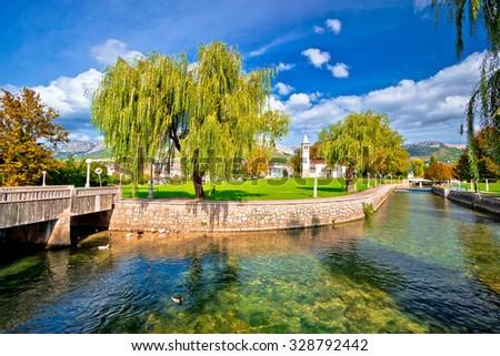 Solin and Jadro river autumn view, Dalmatia, Croatia - stock photo