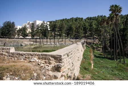 Solomon's Pools at the outskirst of Bethlehem, west bank, israel. these pools are part of the ancient water system of the city of Jerusalem - stock photo