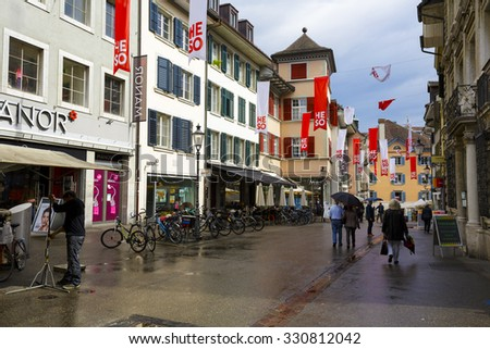 SOLOTHURN, SWITZERLAND - SEPTEMBER 16, 2015: Cityscape of the city, with the population of approx. 16500 citizens it is the capital of the Canton of Solothurn, it is popular tourist destination  - stock photo
