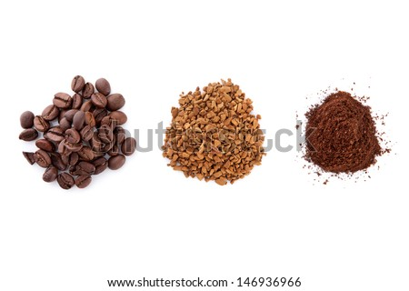 Soluble coffee, coffee beans and ground coffee isolated on white background, top view. Three piles of coffee. Coffee variation - stock photo