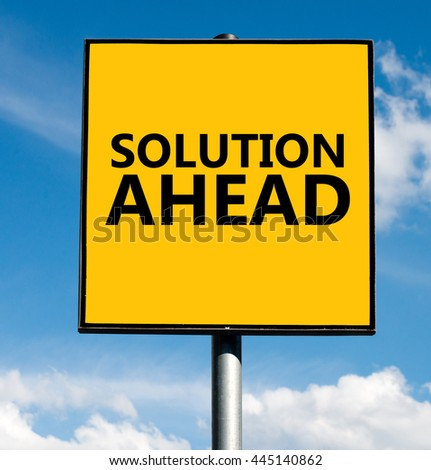 Solution ahead word on road sign on sky background - stock photo