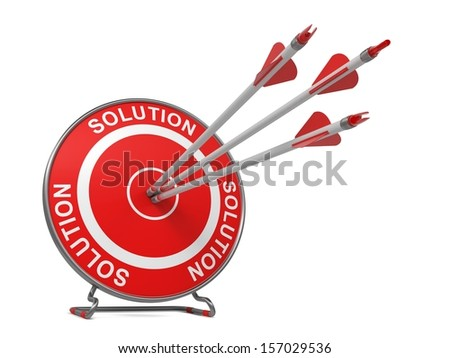 "Solution - Business Background. Three Arrows Hitting the Center of a Red Target, where is Written ""Solution"". 3D Render."