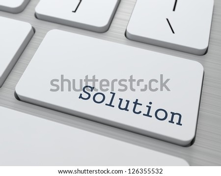 Solution Concept. Button on Modern Computer Keyboard with Word Solution on It.