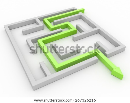 Solution concept: green arrow path showing labyrinths end, way out  - stock photo