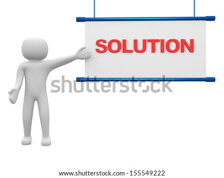 Solution concept.Isolated on white background.3d rendered. - stock photo