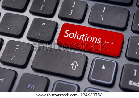 solution concepts, a message on enter key of computer keyboard. - stock photo