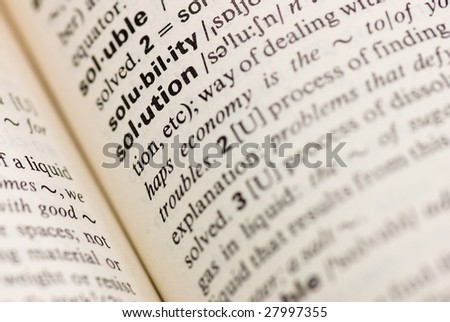 solution dictionary word - stock photo