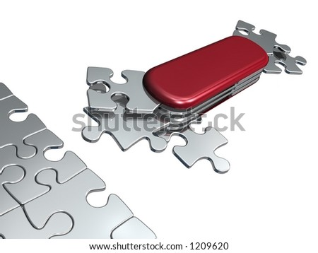"""Solution for all (metaphoric """"swiss puzzle-knife"""" with all necessary shapes for all situation) - stock photo"""