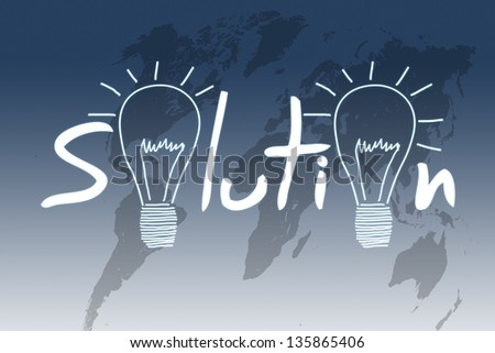 Solution illustration on blue background with world map - stock photo