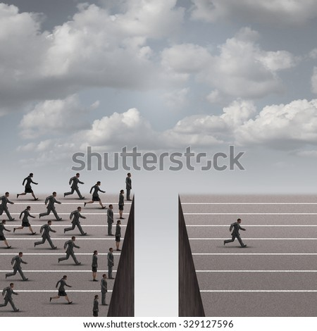 Solution leadership business concept as a group of business people running but blocked by a deep hole obstacle and one individual solving the problem to win over competition as a success metaphor. - stock photo