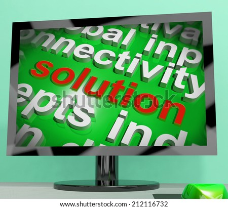 Solution Screen Word Cloud Showing Achievement Resolution Solving And Solved