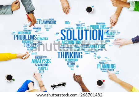 Solution Solve Problem Strategy Vision Decision Concept - stock photo