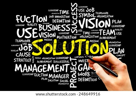 SOLUTION word cloud, business concept - stock photo