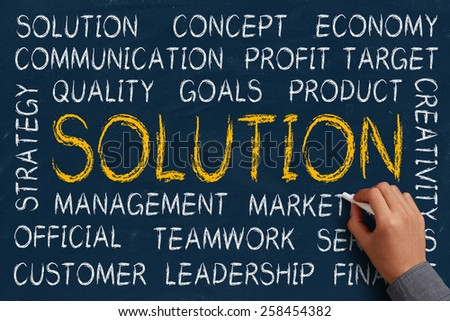 Solution word cloud is written on blue chalkboard by the hand of a businessman. - stock photo
