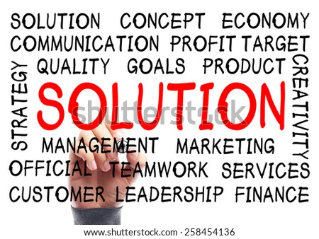 Solution word cloud is written on transparent whiteboard by the hand of a businessman. - stock photo