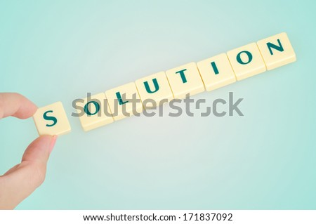 Solution word on blue background