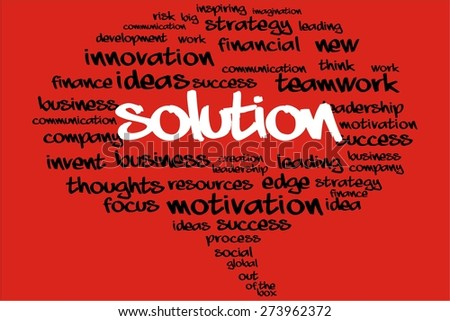 SOLUTION word on speech bubble with business concept