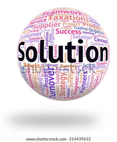 Solution Word Showing Wordclouds Goal And Wordcloud - stock photo