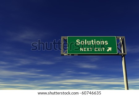 Solutions Freeway Exit Sign - stock photo