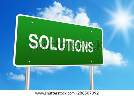 Solutions road sign with blue shiny sky background. - stock photo
