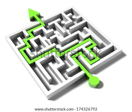 solved labyrinth with green arrow  - stock photo