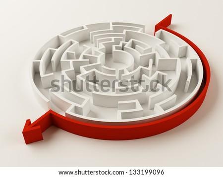 Solved Maze puzzle - stock photo