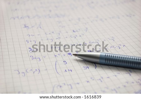 solving calculus problem - stock photo